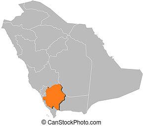 Map of Saudi Arabia, 'Asir highlighted