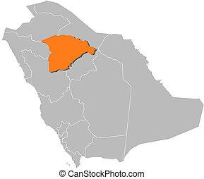 Map of Saudi Arabia, Ha'il highlighted