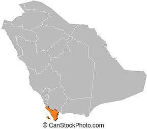 Map of Saudi Arabia, Jizan highlighted