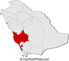 Map of Saudi Arabia, Makkah highlighted