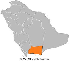 Map of Saudi Arabia, Najran highlighted