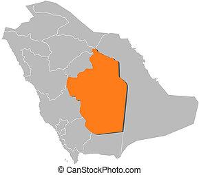Map of Saudi Arabia, Riyadh highlighted