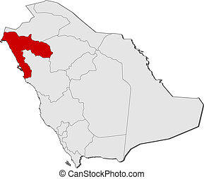 Map of Saudi Arabia, Tabuk highlighted