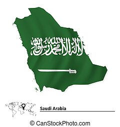 Map of Saudi Arabia with flag