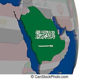 Saudi Arabia with its flag