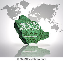 Map of Saudi Arabia with Saudi Arabia Flag on a world map...