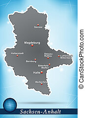 Map of Saxony-Anhalt with abstract background in blue