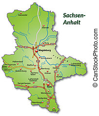 Map of Saxony-Anhalt with highways