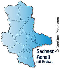 Map of Saxony-Anhalt with borders in blue