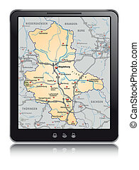 Map of Saxony-Anhalt as a mobile phone