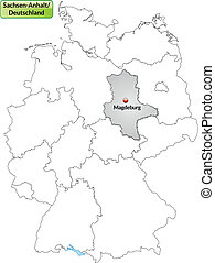 Map of Saxony-Anhalt with main cities in gray