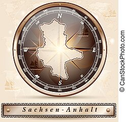 Map of Saxony-Anhalt with borders in bronze