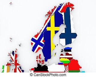 Map of Scandinavia. 3d