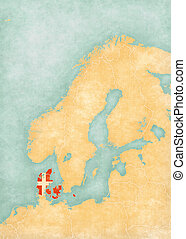 Map of Scandinavia - Denmark - Denmark (Danish flag) on the...