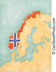 Map of Scandinavia - Norway - Norway (Norwegian flag) on the...