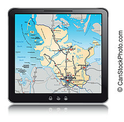 Map of Schleswig-Holstein as a mobile phone