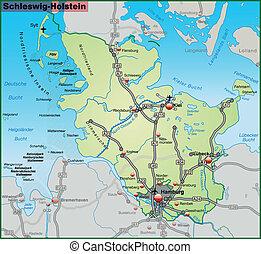 Map of Schleswig-Holstein with highways in pastel green