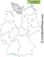 Map of Schleswig-Holstein with main cities in gray