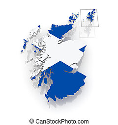 Map of Scotland. 3d