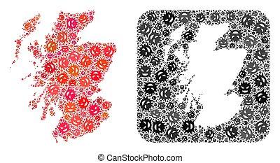 Map of Scotland - Evil Virus Mosaic with Hole