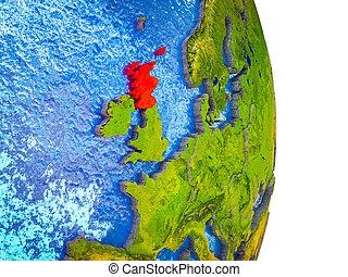 Map of Scotland on 3D Earth