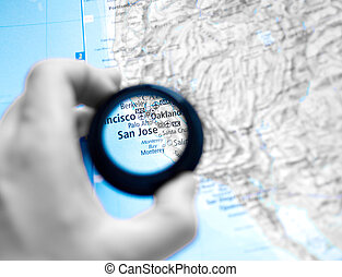 Map of Selective focus on antique map of San Jose -...