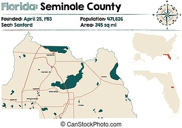 Large and detailed map of Seminole county in Florida, USA.
