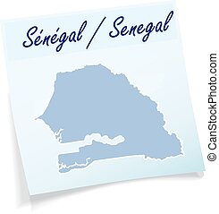 Map of Senegal as sticky note in blue