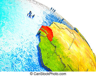 Map of Senegal on 3D Earth
