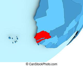 Map of Senegal on blue political globe