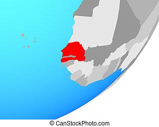 Map of Senegal on globe