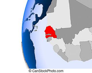 Map of Senegal on political globe
