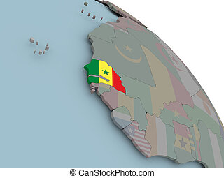 Map of Senegal with flag