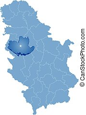 Map of Serbia, Subdivision Kolubara District