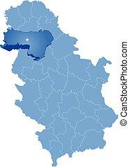 Map of Serbia, Subdivision Srem District