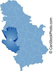 Map of Serbia, Subdivision Zlatibor District
