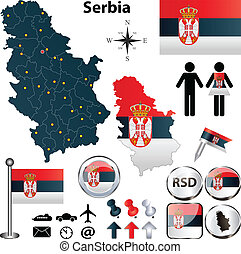 Map of Serbia - Vector of Serbia set with detailed country...