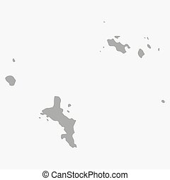 Map of Seychelles in gray on a white background