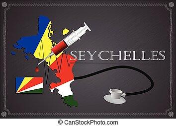 Map of Seychelles with Stethoscope and syringe.
