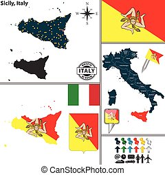 Map of Sicily, Italy - Vector map of region Sicily with coat...