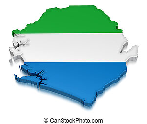 Map of Sierra Leone. 3d render Image. Image with clipping path