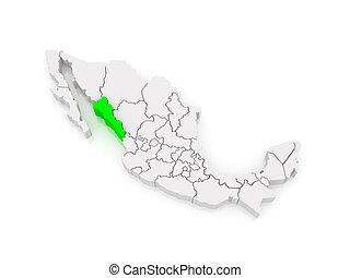 Map of Sinaloa. Mexico.