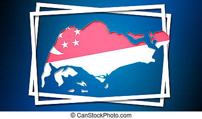 Map of Singapore land border with flag in white frames