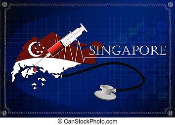 Map of Singapore with Stethoscope and syringe.