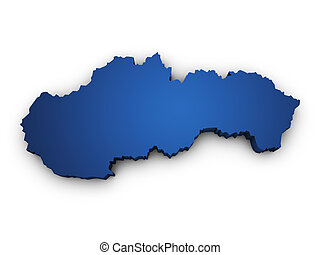 Map Of Slovakia 3d Shape - Shape 3d of Slovakia map colored...