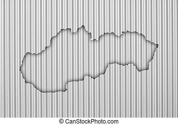 Map of Slovakia on corrugated iron