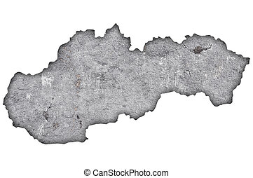 Map of Slovakia on weathered concrete