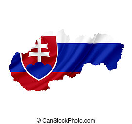 Map of Slovakia with waving flag isolated on white