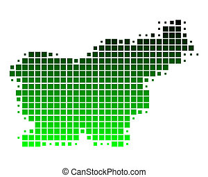 Green slovenia map Administrative division of the republic eps