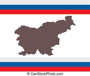 Map of Slovenia on background with flag